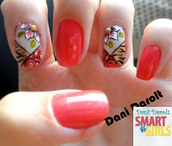 Nail Art Dani Darolt Smartgirls Inspiração unha mãe Íris e Dani (9) coral fashion avon
