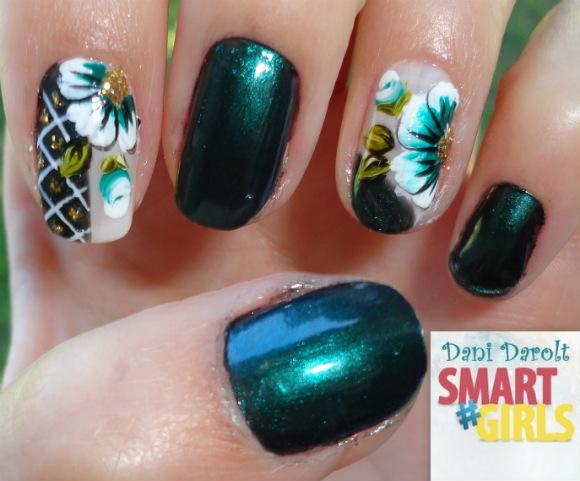 Nail art- decorada - Dani Darolt - Smartgirls - avon - flor - xadrez - glitter - 2014 (10)