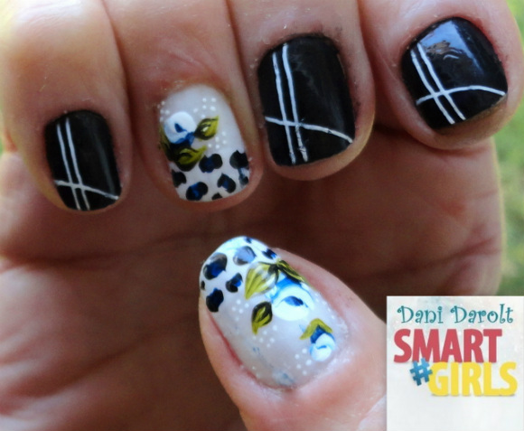 Nail art- decorada - Dani Darolt - Smartgirls - avon - flor - xadrez - glitter - 2014 (11)