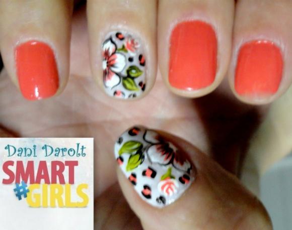 Nail art- decorada - Dani Darolt - Smartgirls - avon - flor - xadrez - glitter - 2014 (13)