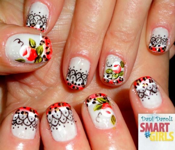 Nail art- decorada - Dani Darolt - Smartgirls - avon - flor - xadrez - glitter - 2014 (15)