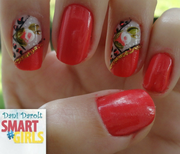 Nail art- decorada - Dani Darolt - Smartgirls - avon - flor - xadrez - glitter - 2014 (16)
