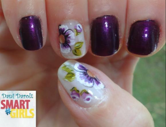 Nail art- decorada - Dani Darolt - Smartgirls - avon - flor - xadrez - glitter - 2014 (2)