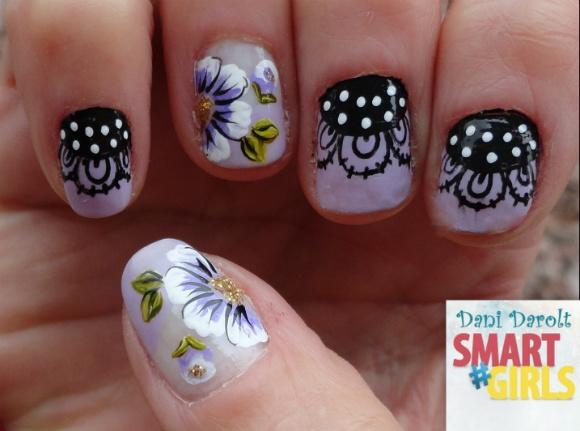 Nail art- decorada - Dani Darolt - Smartgirls - avon - flor - xadrez - glitter - 2014 (8)
